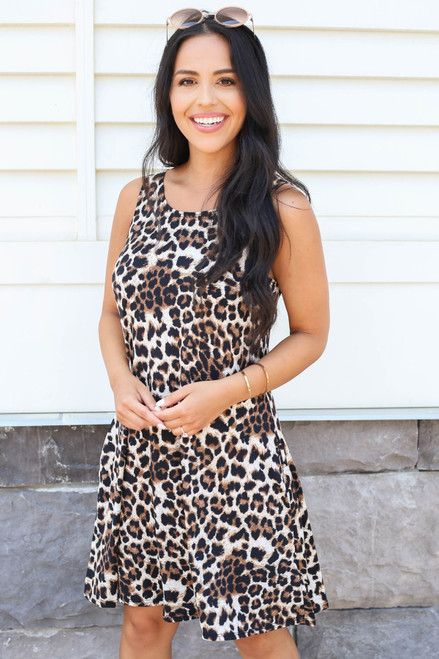 Leopard - Sleeveless Swing Dress