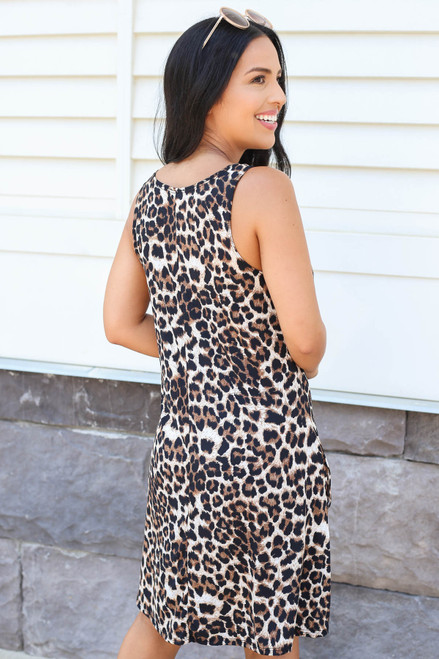Leopard - Sleeveless Swing Dress Back View