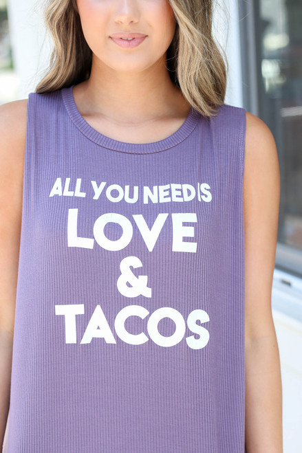 Purple - All You Need Is Love And Tacos Ribbed Graphic Tank Detail View