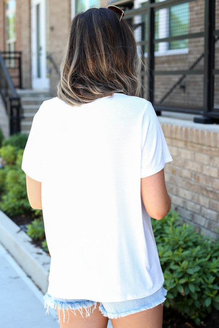 White - Relaxed Fit Basic Pocket Tee Back View