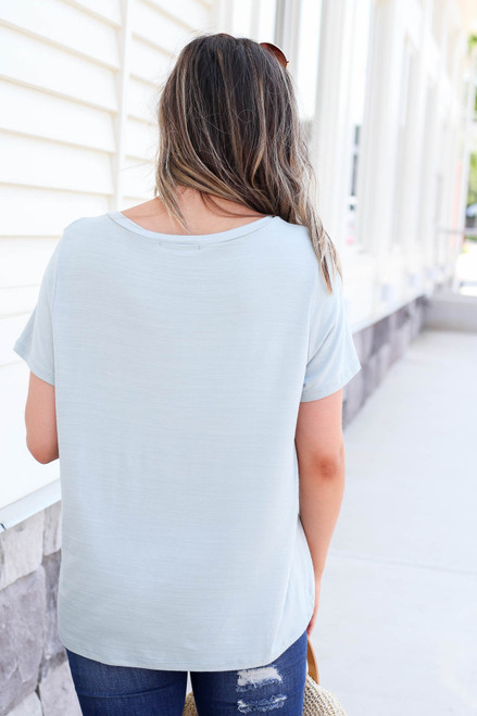 Model wearing Mint Relaxed Fit Pocketed Basic Tee Back View