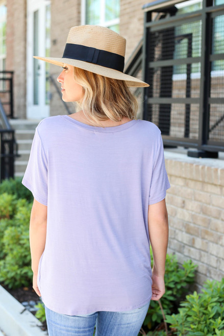 Purple - Relaxed Fit Basic Pocket Tee Back View