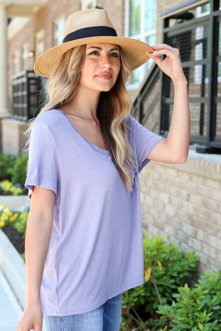 Purple - Relaxed Fit Basic Pocket Tee Side View