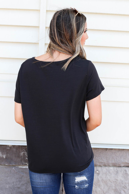 Black - Relaxed Fit Basic Pocket Tee Back View