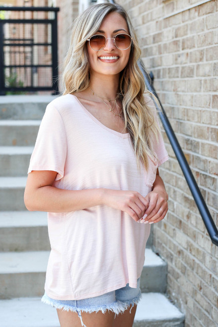 Blush - Relaxed Fit Basic Pocket Tee Side View