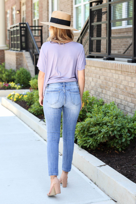 Model wearing Medium Wash Cropped Skinny Jeans Back View