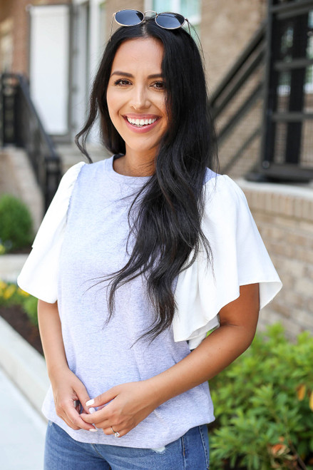 Grey - and White Flutter Sleeve Tee