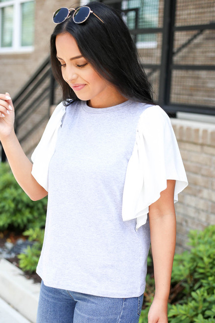Grey - and White Flutter Sleeve Tee Side View