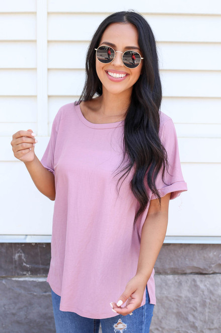 Purple - Oversized Exposed Seam Top