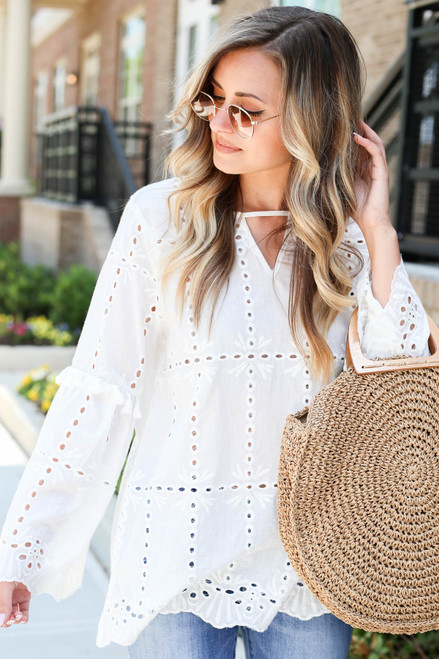 White - Eyelet Bell Sleeve Blouse