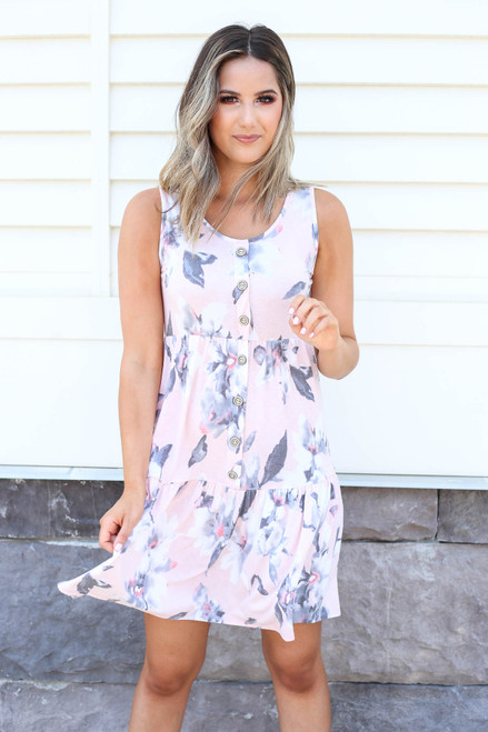 Blush - Tiered Button Up Floral Dress