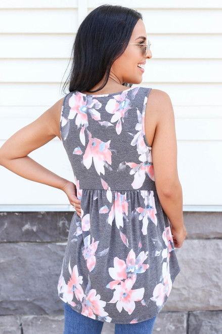 Model wearing Charcoal Floral Babydoll Tank Back View