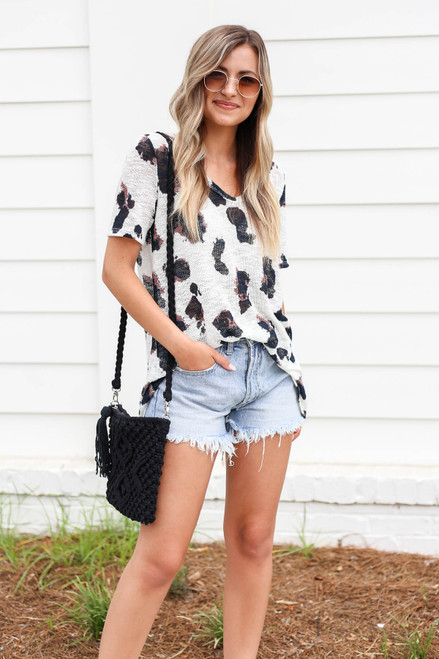 White - Open Knit Leopard Print Top Full VIew