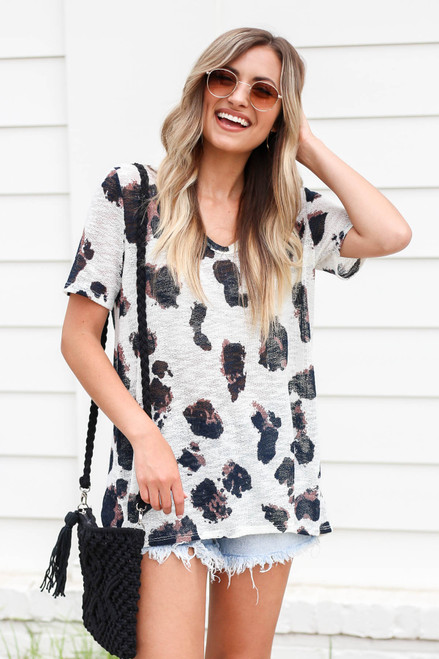 White - Open Knit Leopard Print Top