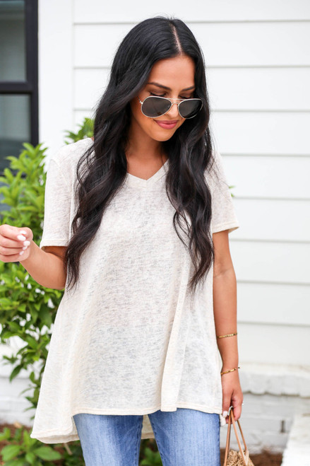 Model wearing Ivory Lightweight Knit Tee Front View