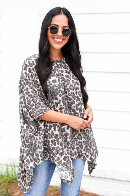 Leopard - Leopard Print Oversized Knit Top Front View