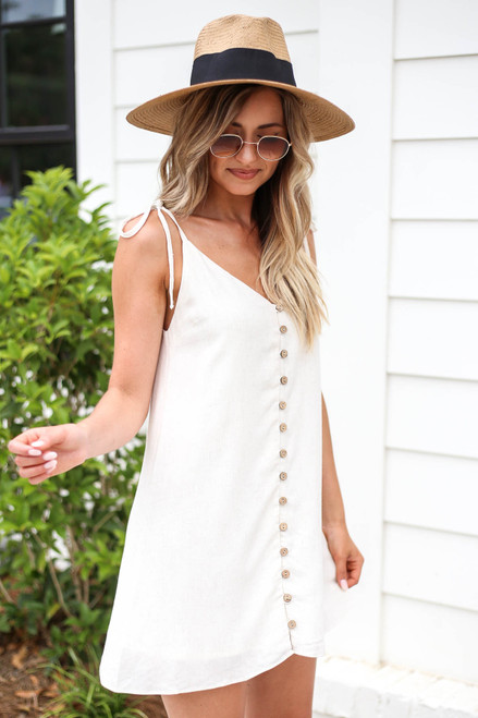 Ivory - Button Front Swing Dress Side View