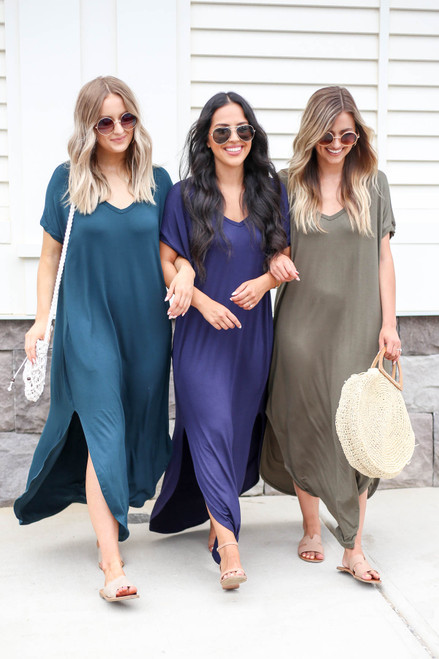 Navy - Green and Olive Maxi Dresses