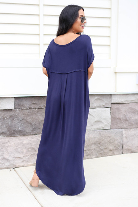Model wearing Navy Side Slit T-Shirt Maxi Dress Back View