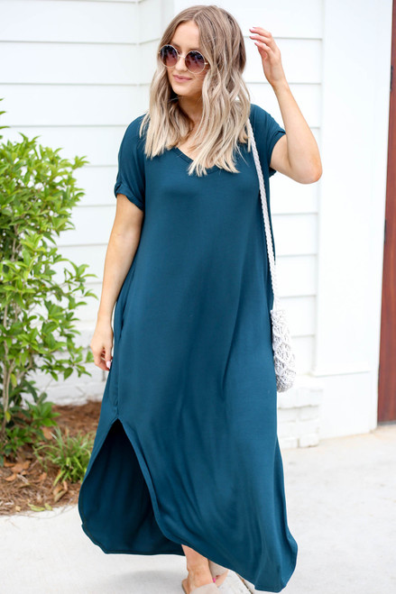 Green - Side Slit T-Shirt Maxi Dress Front View