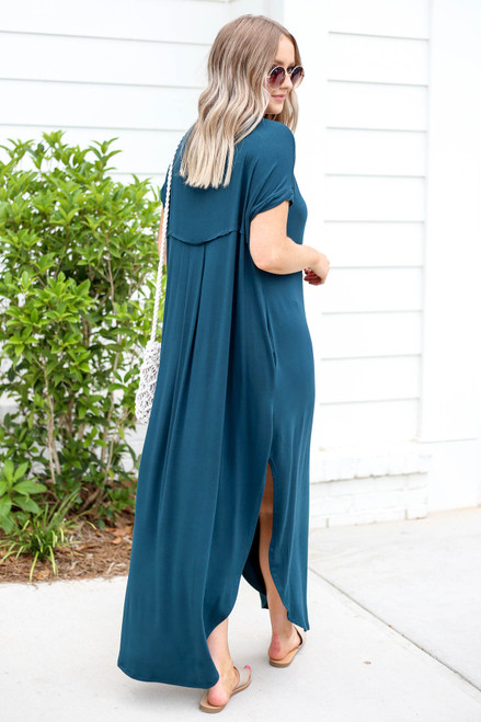 Model wearing Green Side Slit T-Shirt Maxi Dress Back View