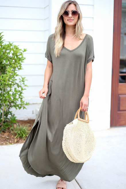 Olive - Side Slit T-Shirt Maxi Dress Front View