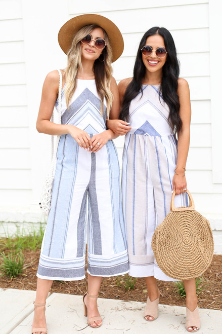 Taupe - And Blue Striped Cropped Jumpsuit