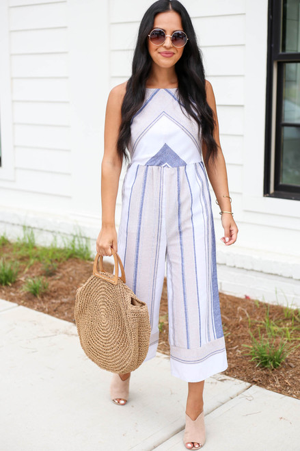 Taupe - Striped Cropped Jumpsuit
