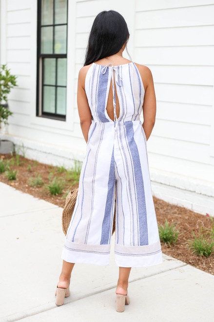 Model wearing Taupe Cropped Striped Jumpsuit Back View