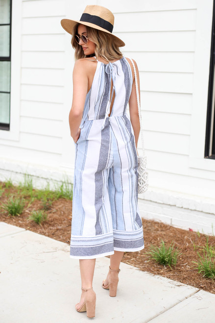 Model wearing Blue Cropped Striped Jumpsuit Back View