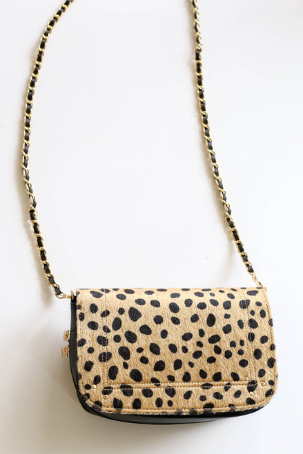 Flat Lay Cheetah Print Crossbody Handbag