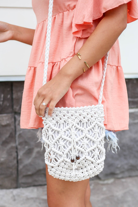 White - Crochet Macrame Crossbody Pouch
