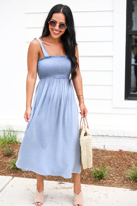 Denim - Smocked Tie Strap Midi Dress
