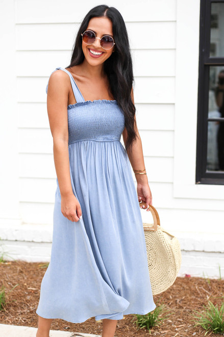Denim - Smocked Tie Strap Midi Dress Front View
