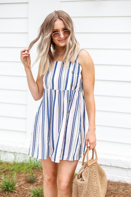 Blush - And Blue Striped Button Up Mini Dress
