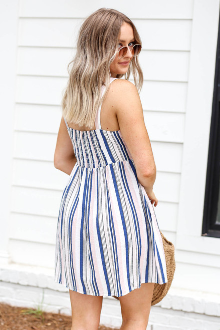 Blush - And Blue Striped Button Up Mini Dress Back View