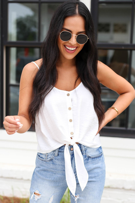 White - Button Up Tie Front Tank Top