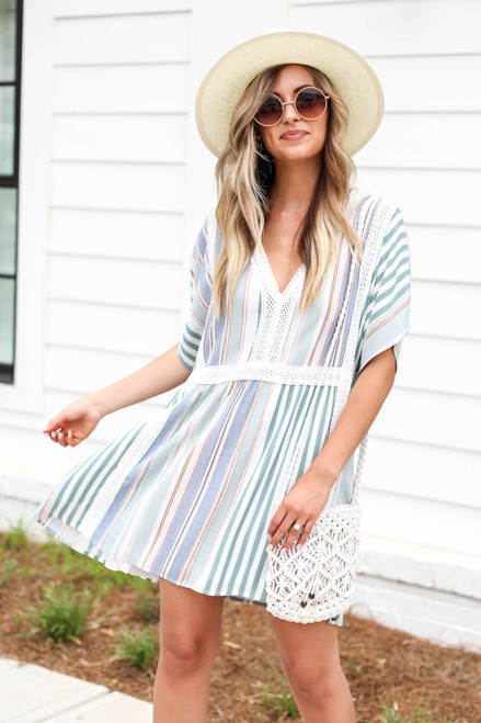 Multi - Flowy Striped and Lace Mini Dress