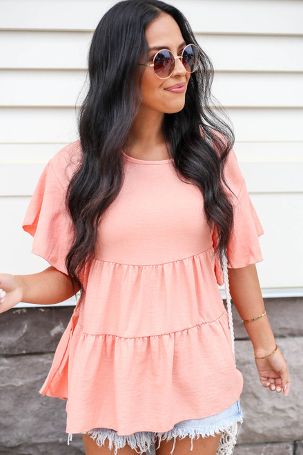 Coral - Tiered Ruffle Sleeve Blouse