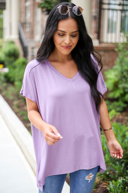 Purple - Short Sleeve V-Neck Tee