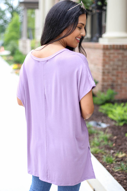 Purple - Short Sleeve V-Neck Tee Back View