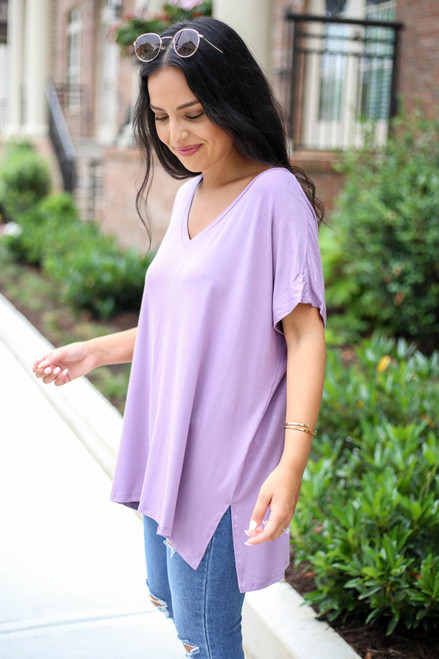 Model wearing Purple Oversized V-Neck Tee Side View