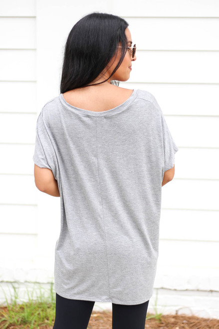 Model wearing Heather Grey Oversized V-Neck Tee Back View
