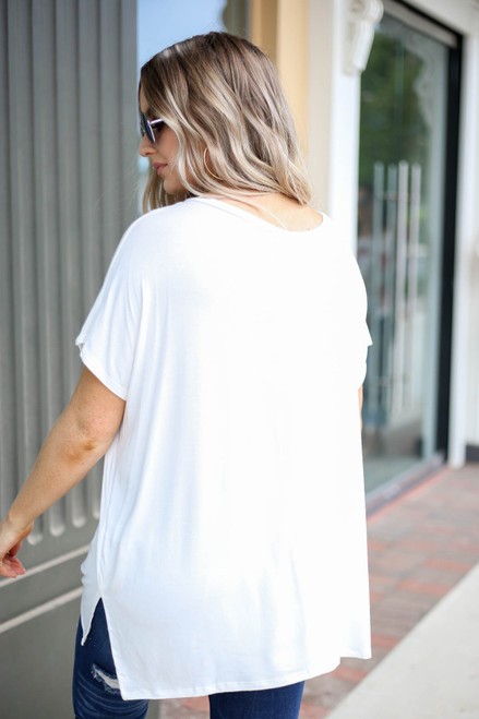 Ivory - Short Sleeve V-Neck Tee Back View
