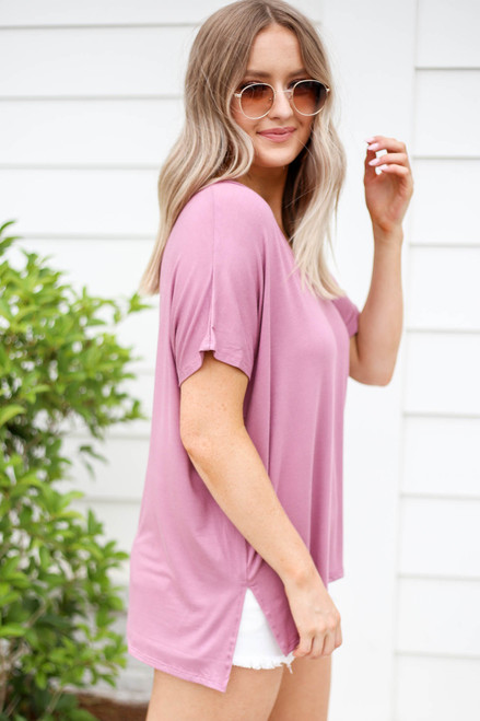 Mauve - Short Sleeve V-Neck Tee Side View