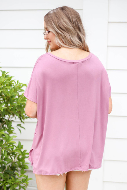Model wearing Mauve Oversized V-Neck Tee Back View