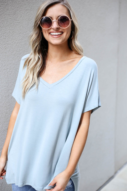 Mint - Short Sleeve V-Neck Tee