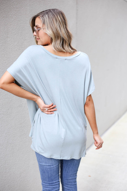 Model wearing Mint Oversized V-Neck Tee Back View