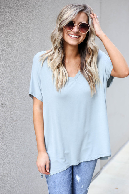 Model wearing Mint Oversized V-Neck Tee Front View