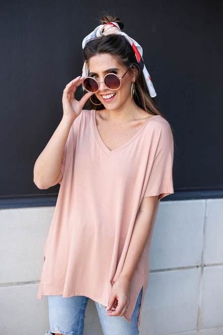 Eliza Oversized V-Neck Top